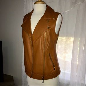 Boston Proper Brown leather vest size 8